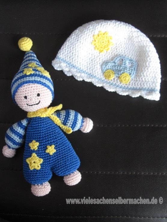 Häkelwichtel und Mütze als Babygeschenk